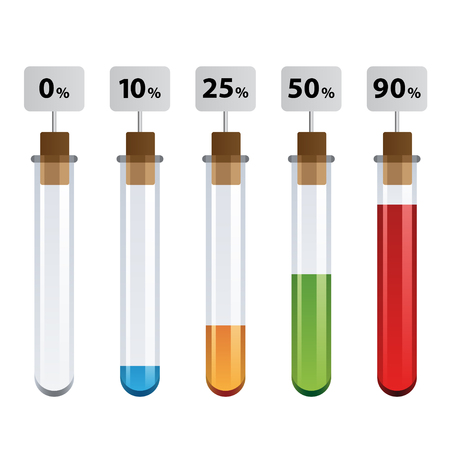 stopper: vector test tubes percent infographic Illustration