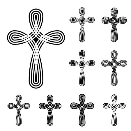 stranded: vector christian cross ornamental knot symbol Illustration