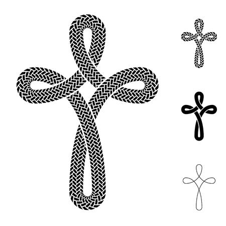 christians: vector christian cross cord symbol
