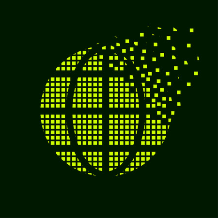 green globe: vector green globe flying pixel symbol