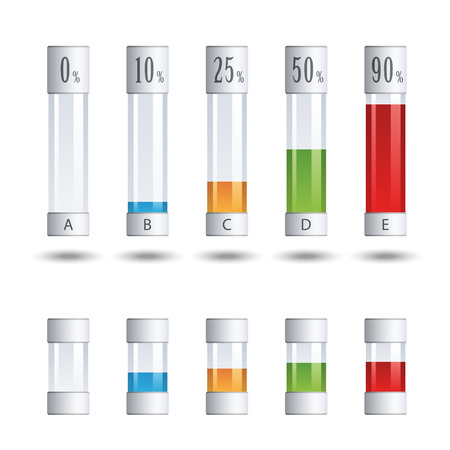 tubes: vector glass tubes percent infographic