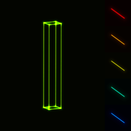 i net: vector glowing wireframe letter I - easy to change color
