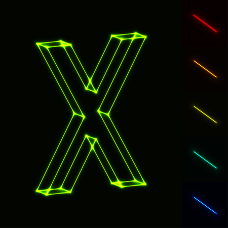 neon light: vector glowing wireframe letter X - easy to change color