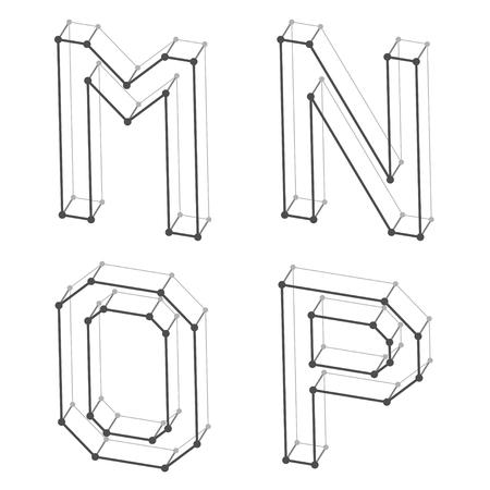 design frame: wireframe font alphabet letters M N O P Illustration