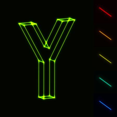 Vektor Leuchtende Drahtmodell-Buchstaben X - Einfach, Farbe Zu ...