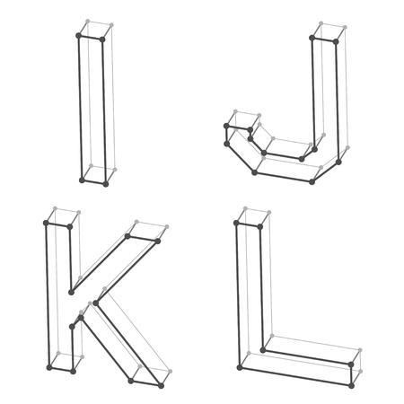 i net:  wireframe font alphabet letters I J K L