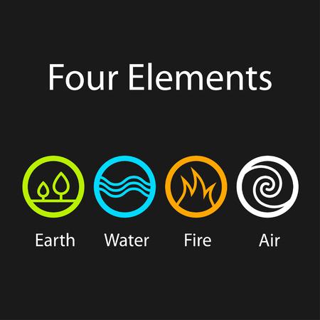 quatre éléments symboles naturels Vecteurs