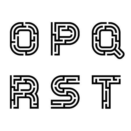 실제 미로 알파벳 글꼴 편지 일러스트