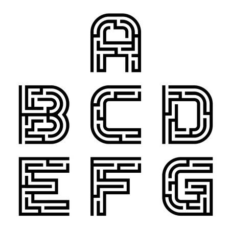 echte doolhof alfabet font letters Vector Illustratie