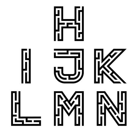 letras del alfabeto de la fuente verdadera de laberinto