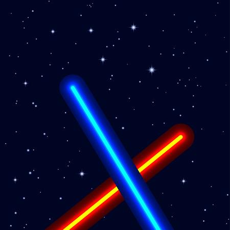 espadas de luz en el cielo nocturno