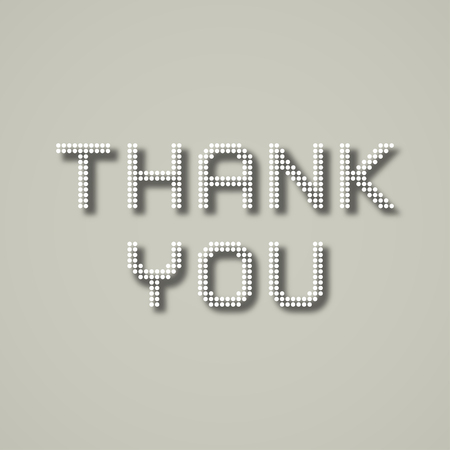 inscription: thank you dotted inscription