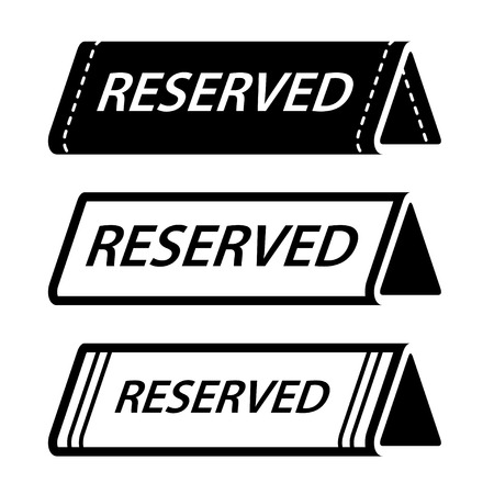 reserved seat: restaurant reserved table sign black icons Illustration