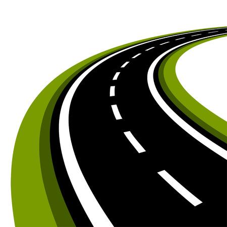 curved asphalt road Vectores