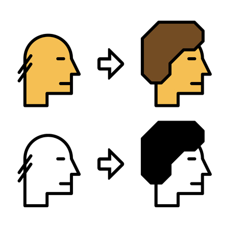 baldness: growth hair icons before and after
