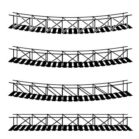 簡単なロープの懸濁液橋黒シンボルをぶら下げをベクトルします。