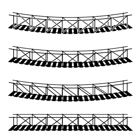 footbridge: vector simple rope suspension hanging bridge black symbol Illustration