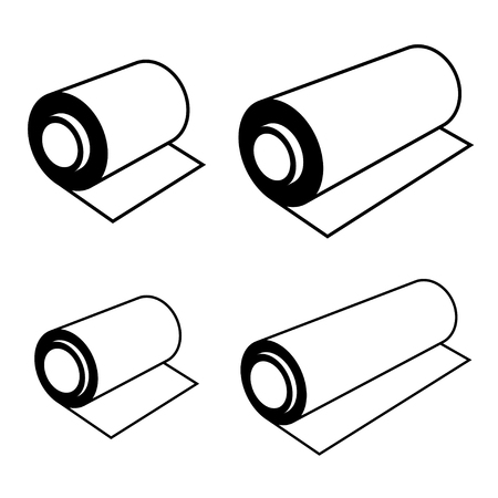 manufacturing: vector roll of any foil black symbols