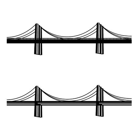 steel bridge: vector metal cable suspension bridge black symbol Illustration