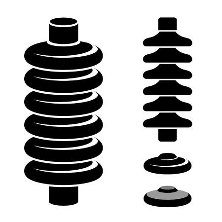 high tension: vector high voltage electrical insulator black symbol