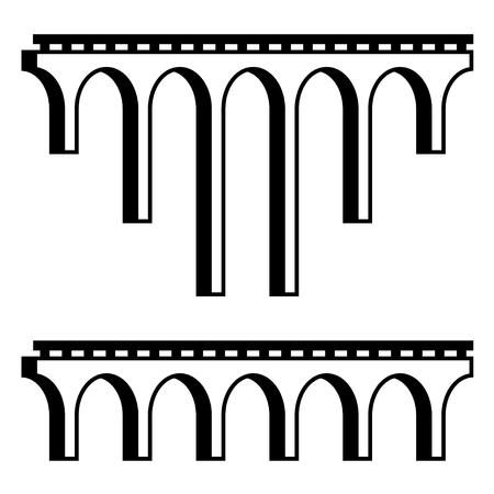 viaduct: vector classical viaduct bridge black symbol