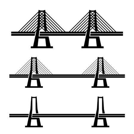 suspension bridge: vector modern cable suspension bridge black symbol