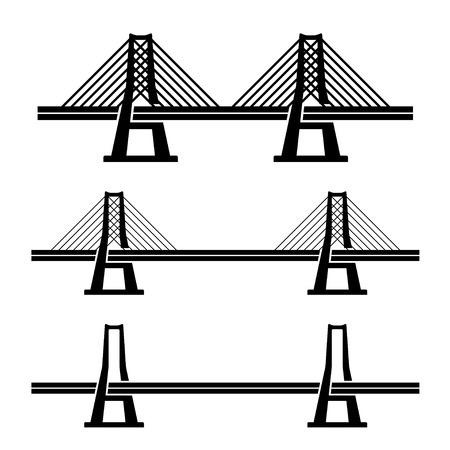 vector modern cable suspension bridge black symbol