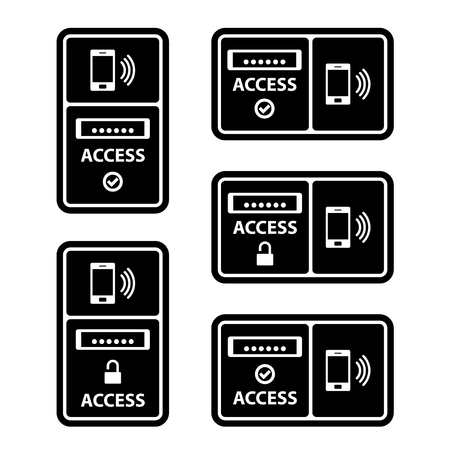 nfc: vector smartphone nfc access panel black symbol