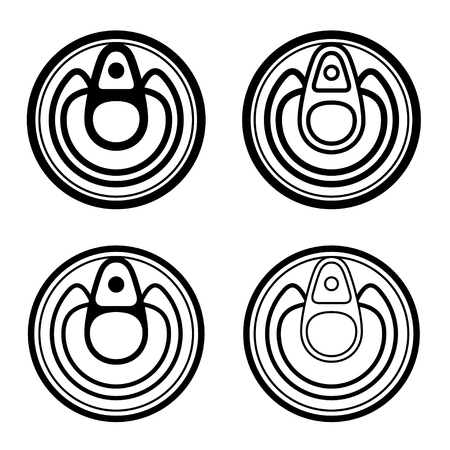 canned goods: vector small food cans black symbol Illustration