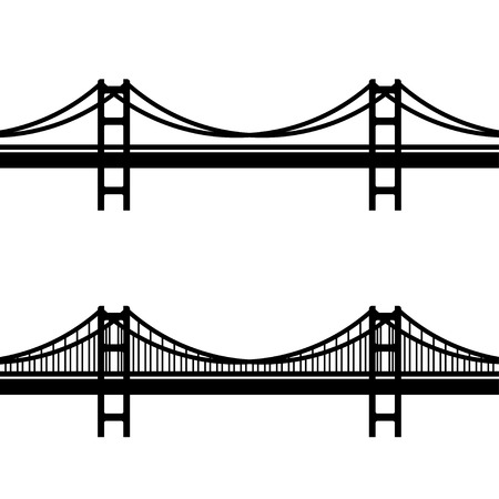 vector metal cable suspension bridge black symbol Illustration