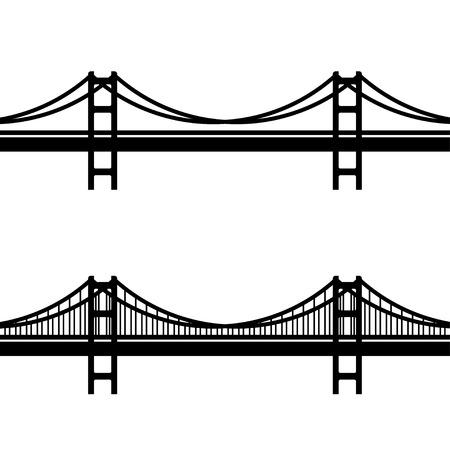 Przewód metalowy wektor most wiszący czarny symbol