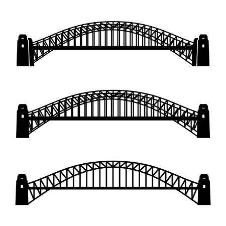 steel bridge: vector metal Sydney Harbour bridge black symbol Illustration