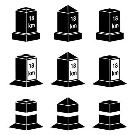 milestone: vector 3d milestone black symbols
