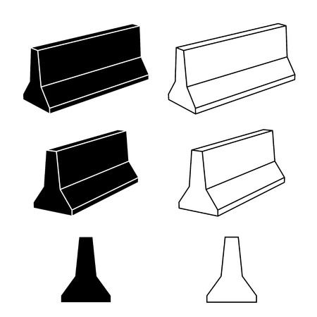 blockade: vector 3d concrete road barrier black symbols