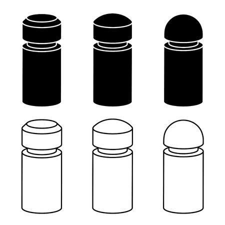 bollard: vector 3d modern concrete bollard black symbols Illustration