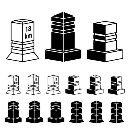boundary: vector 3d milestone boundary stone black symbols