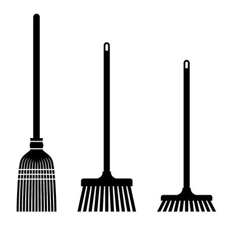 vector sweeping broom black symbols