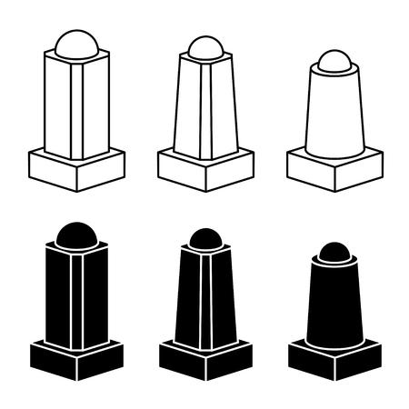walkway: vector 3d modern concrete bollard black symbols Illustration