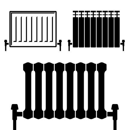central heating: vector central heating radiator black symbols