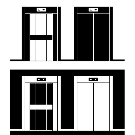 transportation facilities: vector modern elevator black symbols Illustration