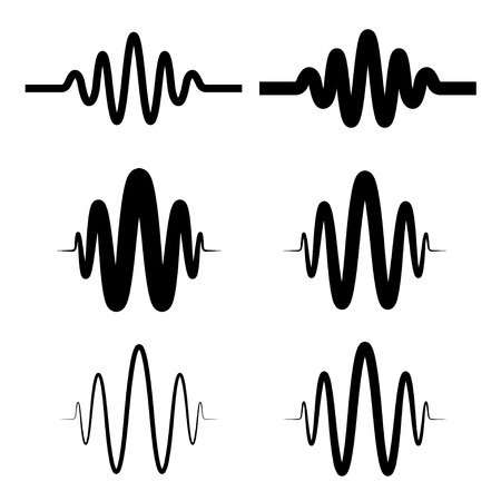 sinusoidal: sinusoidal sound wave black symbol Illustration