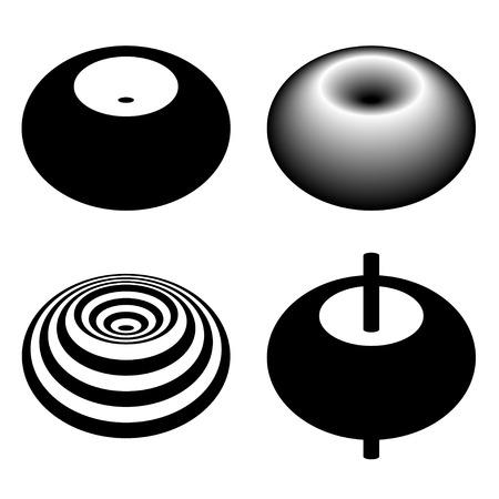 magnetic field: magnetic field toroid black symbol Illustration