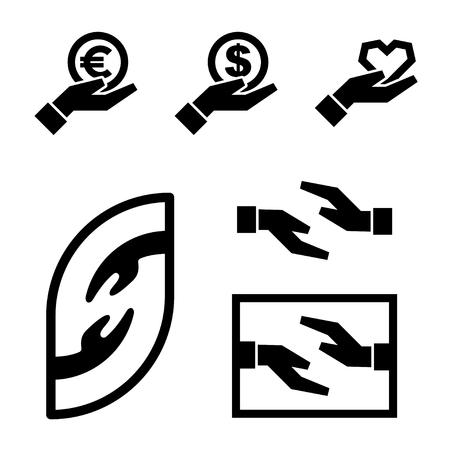 human hand icon black simple symbol Vetores