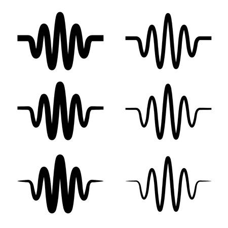 frequency modulation: sinusoidal sound wave black symbol Illustration