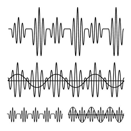 sinusvormige geluidsgolf zwarte lijn vector Stock Illustratie