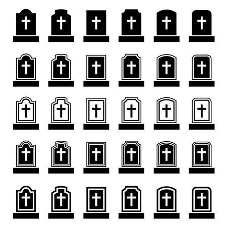 religion catolica: lápida símbolo negro cruz Vectores