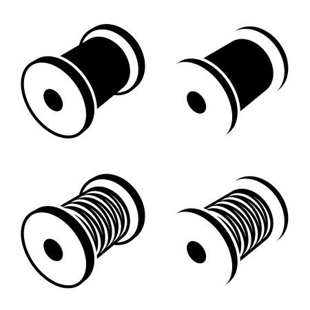 coudre bobine de fil de symbole noir Vecteurs
