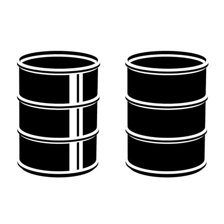 metal barrel: 3D metal barrel black symbol Illustration