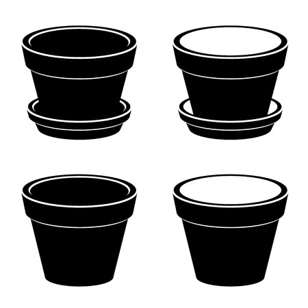 3D flowerpot black symbol