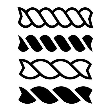 dehydrated: fusilli pasta black line icon